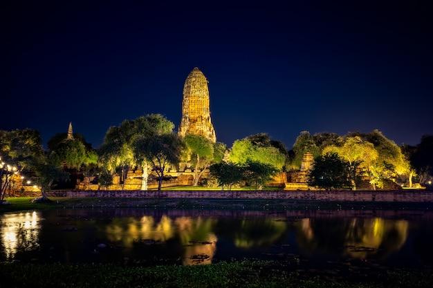 La pagoda antigua de wat chaiwatthanaram es la religión famosa de la atracción turística del templo budista.