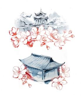 Pagoda oriental pintada a mano en acuarela y paisajes gráficos de flor de cerezo