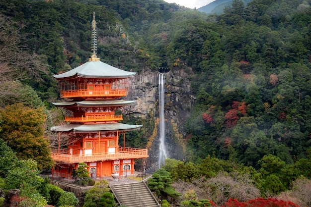 Pagoda seigantoji en el templo santuario kumano nachi taisha con cascadas nachi a la vista en la temporada de otoño, el famoso y popular lugar turístico en wakayama, japón.