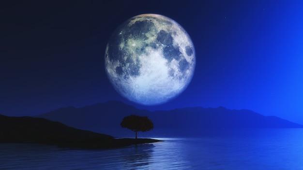 Paisaje 3d con árbol contra el cielo iluminado por la luna