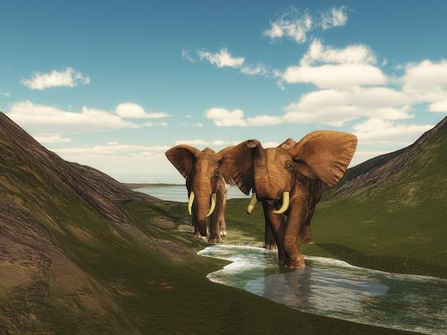 Paisaje 3d con elefantes caminando.