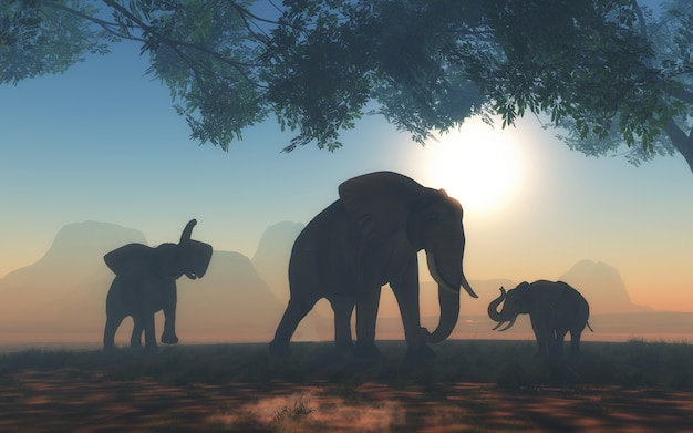 Paisaje 3d con manada de elefantes