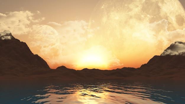 Paisaje 3d con planetas y océano.