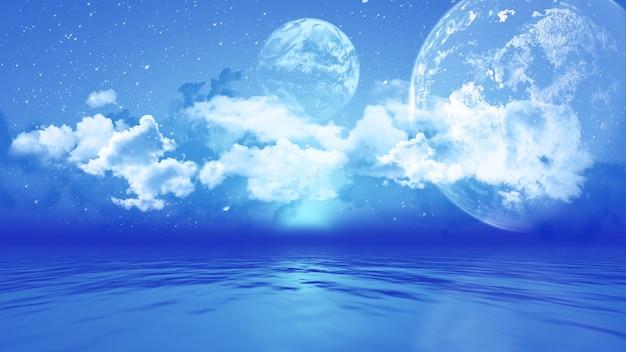 Paisaje 3d con planetas sobre el océano.