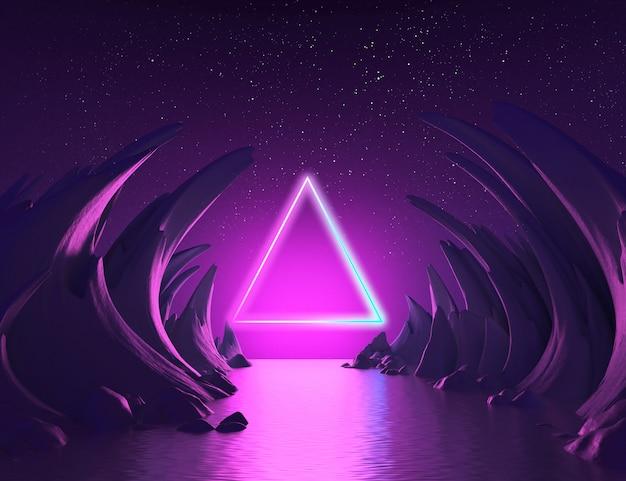 Paisaje abstracto 3d render rosa azul luz de neón