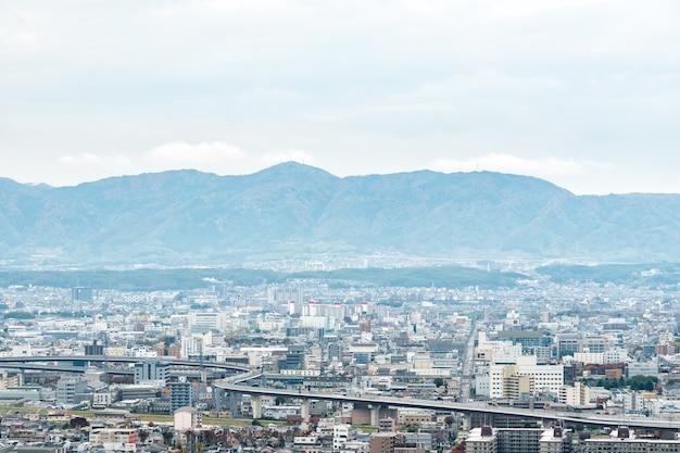 Paisaje aéreo de la ciudad de kyoto en japón