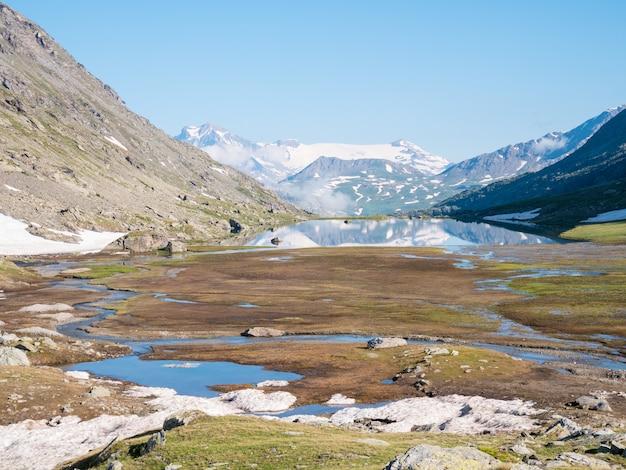 Paisaje alpino de gran altitud con majestuosas cumbres rocosas.