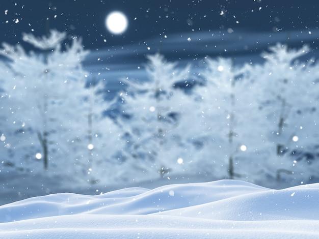 Paisaje de árbol nevado 3d