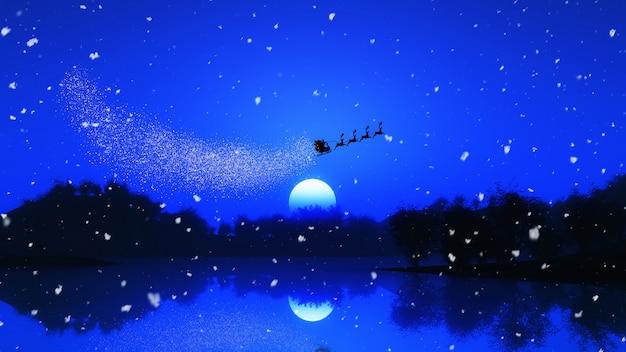 Paisaje de árboles en 3d contra un cielo nocturno con santa y sus renos.