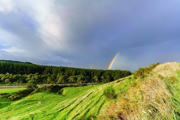Paisaje del área geotérmica activa en la zona volcánica taupo de nueva zelanda con doble arco iris, isla norte de nueva zelanda