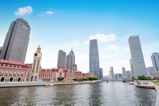 Paisaje arquitectónico urbano en tianjin, china