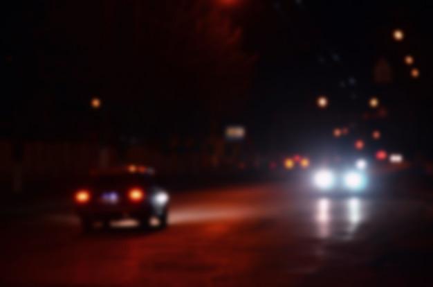 Paisaje borroso de la ciudad de noche