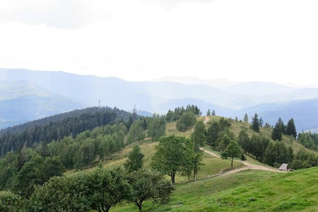 Paisaje camino alto que pasa por la perspectiva de la cresta
