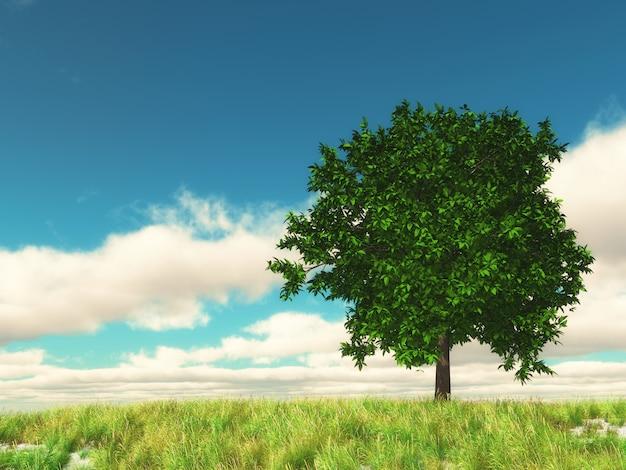 Paisaje de campo 3d con árbol contra el cielo azul