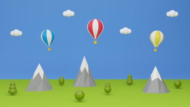 Paisaje de campo con globo volando en el cielo azul. concepto de viaje ilustración de renderizado 3d