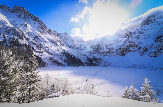 Paisaje de un campo y montañas cubiertas de nieve y el sol brillante