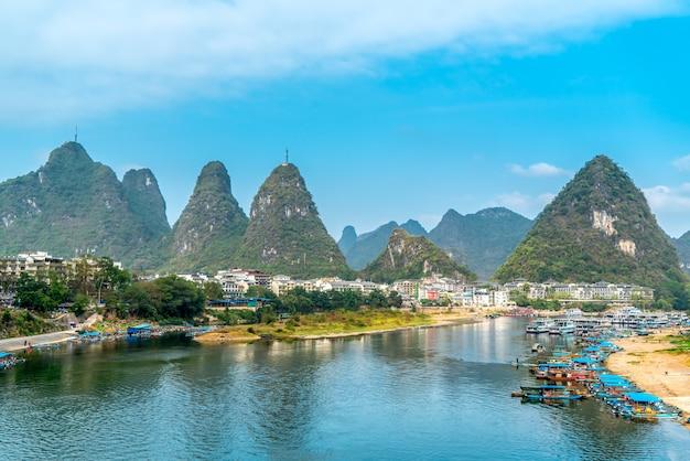 Paisaje y campo del río guilin lijiang