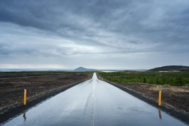 Paisaje con una carretera mojada en islandia