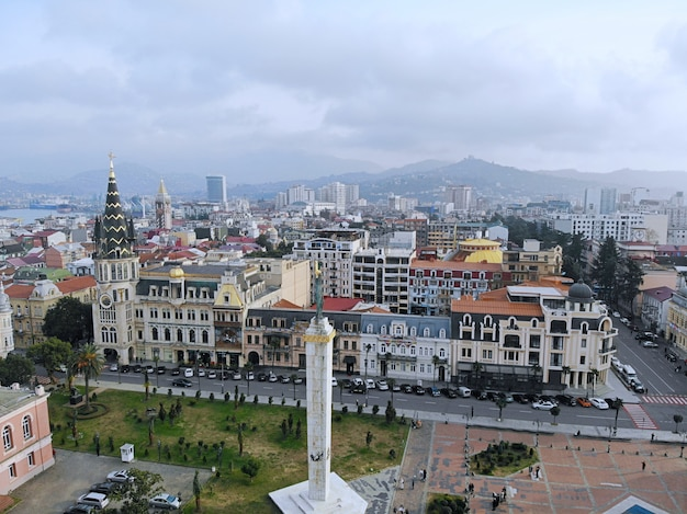 Paisaje del centro de la ciudad de la ciudad del mar de georgia de batumi