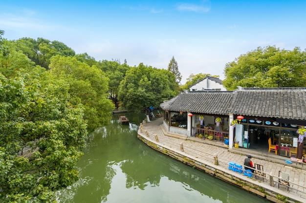 Paisaje de la ciudad antigua de zhouzhuang, suzhou, china