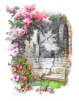 Paisaje colorido abstracto de la acuarela de las flores. primavera con edificios y muros