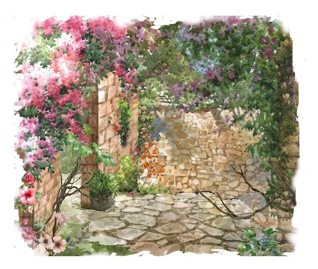 Paisaje colorido abstracto de la pintura de la acuarela de las flores. primavera con edificios y muros