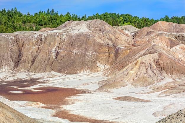 Paisaje como la superficie de un planeta marte. superficie de tierra negra marrón rojiza solidificada. tierra agrietada y quemada. canteras de arcilla refractaria.