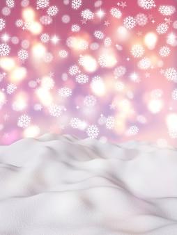 Paisaje de copo de nieve de navidad 3d