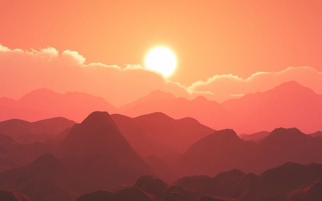 Paisaje de montaña 3d contra el cielo del atardecer