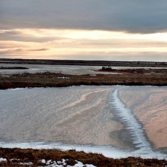 Paisaje de tundra congelada, churchill, manitoba, canadá