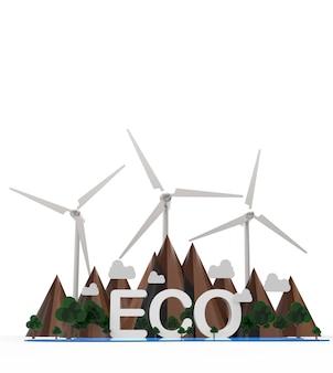 Paisaje eco nature. montaña, turbina, árbol. energía renovable aislada sobre fondo blanco. ilustración 3d.