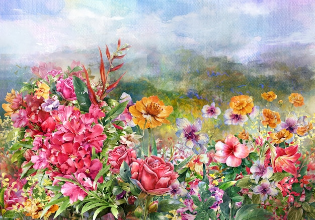 Paisaje de flores multicolores estilo acuarela