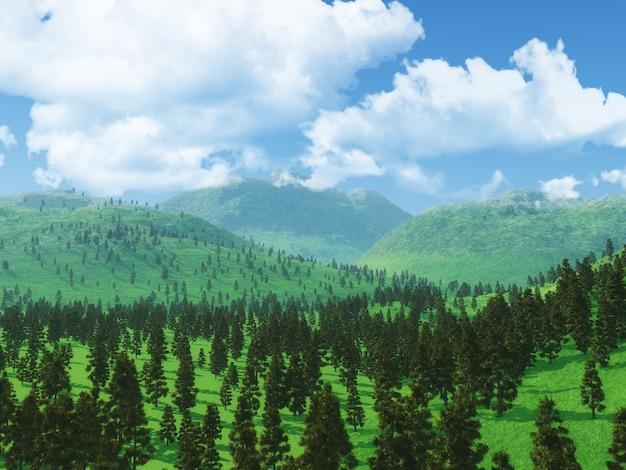 Paisaje forestal en 3d con nubes bajas.