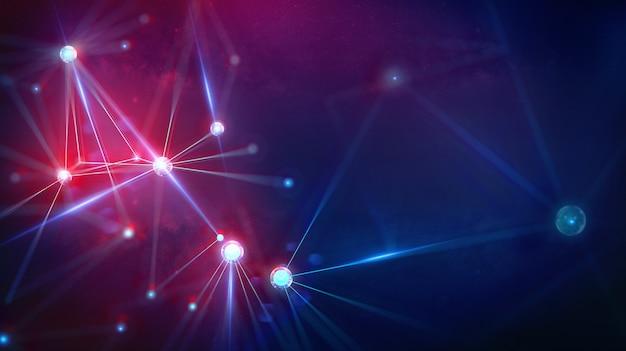 Paisaje geométrico y tecnología blocktech digital futurista.