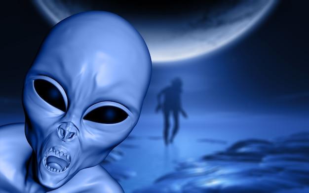 Paisaje de halloween 3d con alienígena malvado