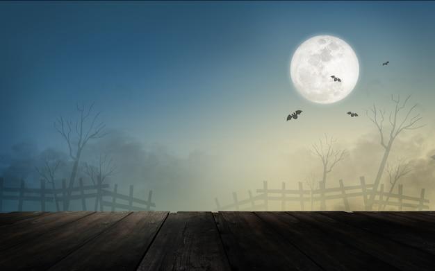Paisaje de halloween con luna llena y murciélagos.