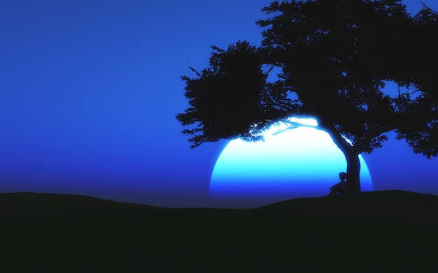 Paisaje iluminado por la luna en 3d con un niño sentado debajo de un árbol