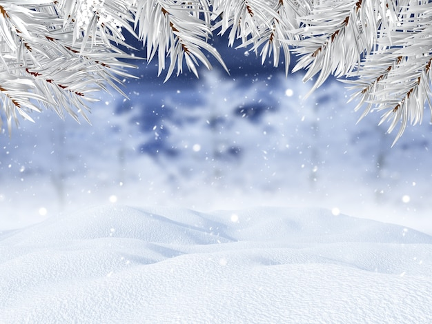 Paisaje invernal 3d con ramas de árboles de navidad