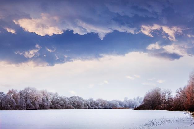 Paisaje invernal con árboles nevados y pesadas nubes oscuras