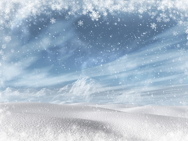 Paisaje invernal nevado 3d