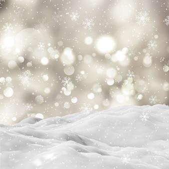 Paisaje de invierno cubierto de nieve en 3d con luces bokeh y copos de nieve cayendo