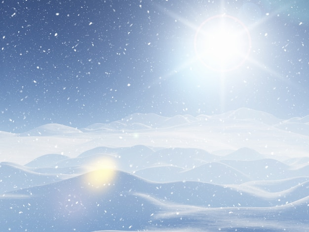 Paisaje de invierno cubierto de nieve 3d