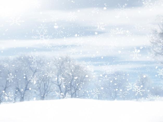 Paisaje de invierno navideño con diseño de copos de nieve cayendo
