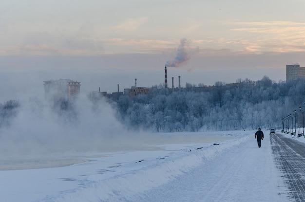 El paisaje de invierno en el parque kolomenskoye en moscú