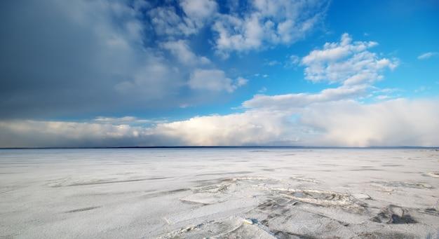 Paisaje de invierno en un prado congelado