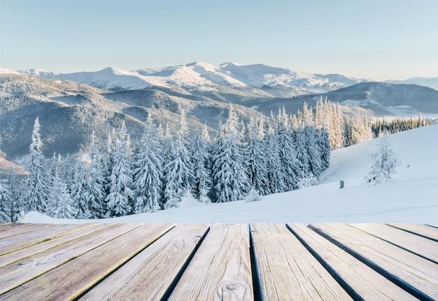 Paisaje de invierno en previsión de las vacaciones. dramática escena invernal. los cárpatos