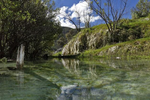 Paisaje de lago cristalino y montañas.