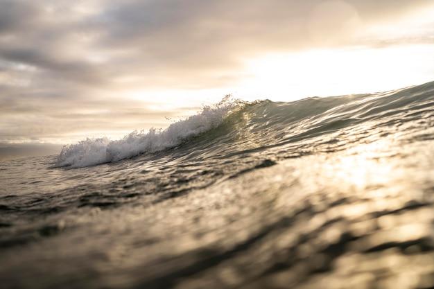 Paisaje de mar con olas y nubes.