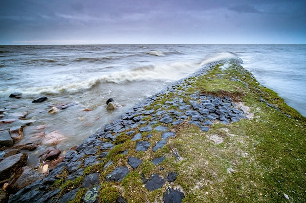 Paisaje del mar rodeado de rocas cubiertas de musgo bajo un cielo nublado en la noche