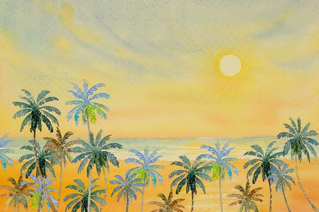 Paisaje marino colorido de la onda de la playa de la belleza en verano.